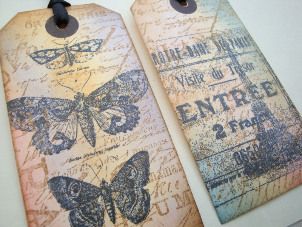 butterfly paris gift tags luggage label