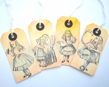 Alice in Wonderland luggage label gift tags x4 GT014