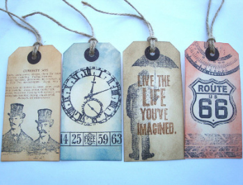 Men's vintage style luggage label gift tags GT015