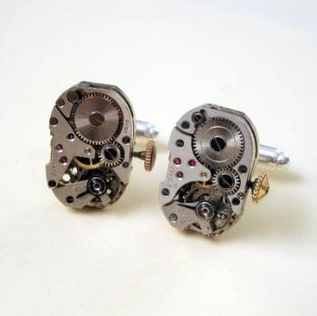 Steampunk cufflinks with vintage watch movements SC050