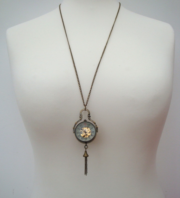 vintage style mechanical watch necklace