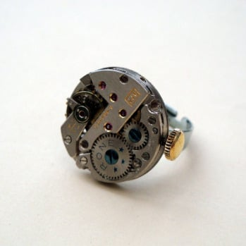 Steampunk ring with vintage watch movement SR042