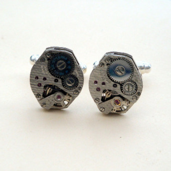 Steampunk cufflinks with vintage watch movements SC056