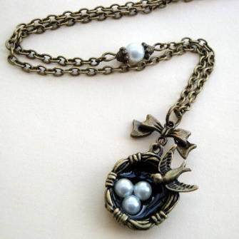 Vintage inspired bird's nest necklace in antique bronze VN108