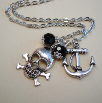 PN093 Silver & black pirate charm necklace
