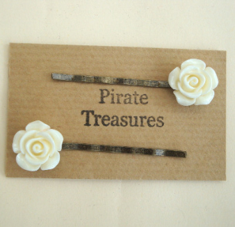 Vintage inspired hair grip bobby pins 2 ivory rose