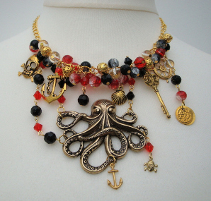 red black gold pirate charm necklace