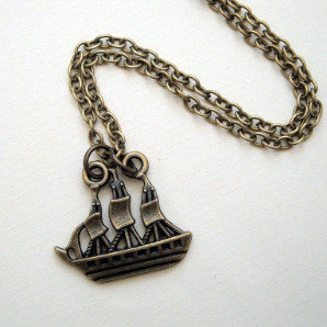 Pirate ship galleon necklace in antique bronze PN141