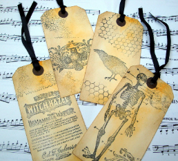 Halloween Vintage style large luggage label gift tags x 4