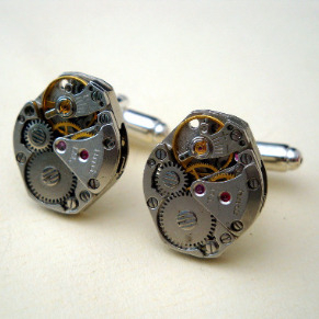 Steampunk cufflinks with vintage watch movements SC057
