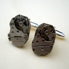 Steampunk cufflinks with vintage watch movements SC058