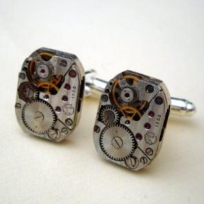 Steampunk cufflinks with vintage watch movements SC059