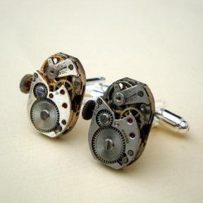 Steampunk cufflinks with vintage watch movements SC060