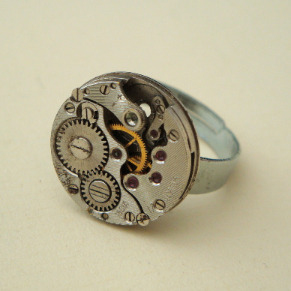 Steampunk ring with vintage watch movement SR053