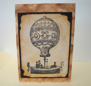 Steampunk hot air balloon vintage style card