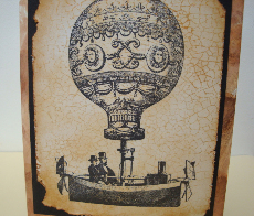 steampunk hot air balloon card
