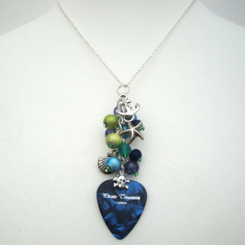 PN099 Blue & green pirate charm necklace