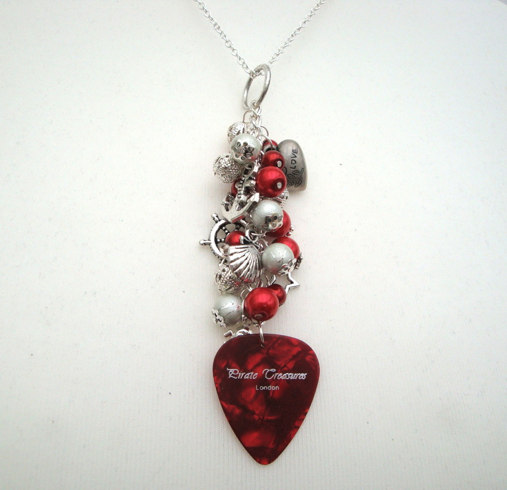 PN088 Red pirate plectrum charm necklace