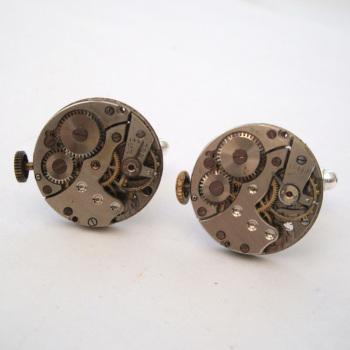 Steampunk cufflinks with vintage watch movements SC065