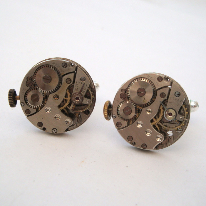 Steampunk cufflinks with vintage watch movements SC065