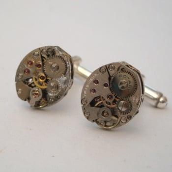 Steampunk cufflinks with vintage watch movements SC066