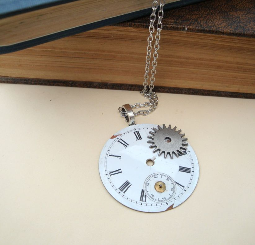 Steampunk necklace with vintage pocket watch face and cogs SN100