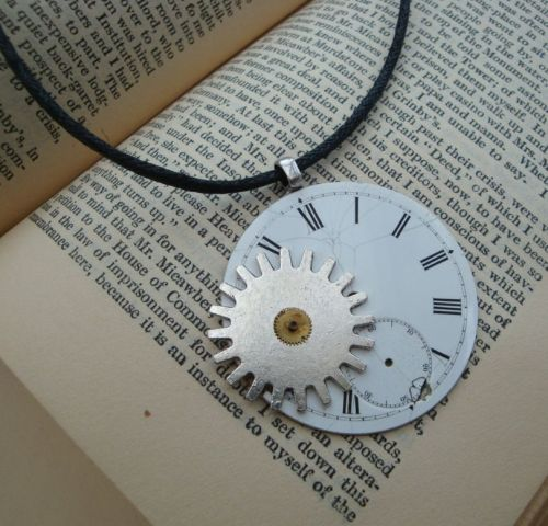 Steampunk necklace with pocket watch face and cogs on cord SN101
