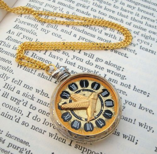 Steampunk necklace with pocket watch and hummingbird SN102