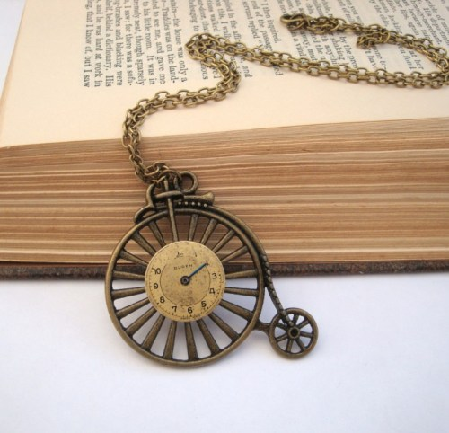 Steampunk necklace - Penny Farthing & vintage watch face in bronze SN104