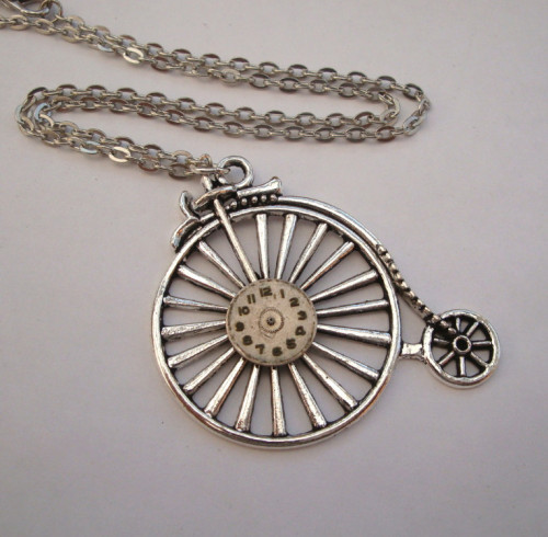 Steampunk necklace - Penny Farthing & vintage watch face in silver SN106