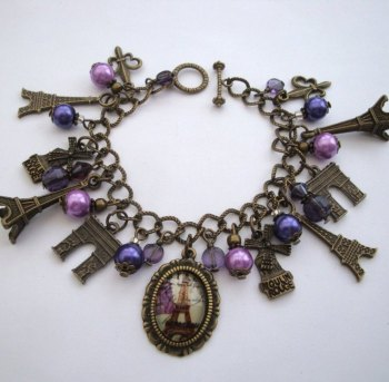 Paris Eiffel Tower charm bracelet in bronze and purple VCB027