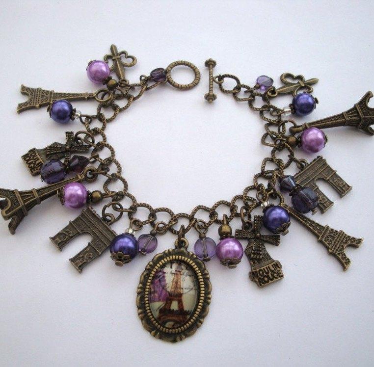 Paris Eiffel Tower charm bracelet in bronze and purple VCB027