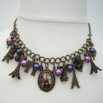 Paris Eiffel Tower charm necklace in bronze and purple VN110