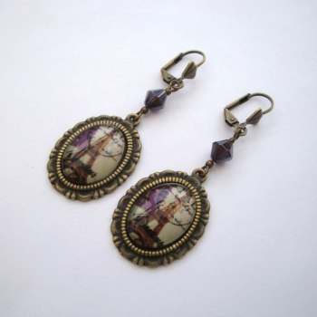 Paris Eiffel Tower cabochon earrings VE049