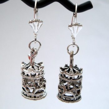 Silver vintage style carousel charm earrings VE050