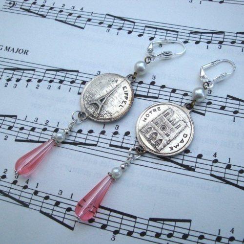Vintage Paris charm earrings with pink teardrop