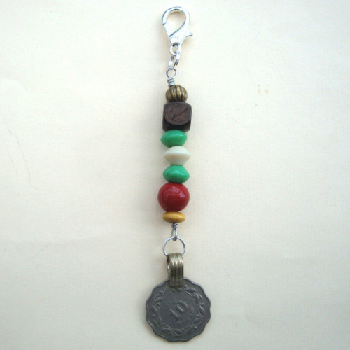 PBB001 Pirate kuchi coin & beads charm