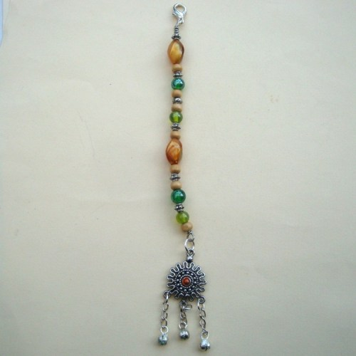 PBB005 Pirate bandana/ hair beads (green)