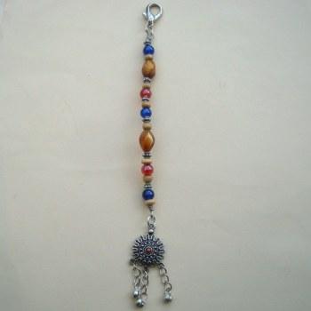 PBB007 Pirate bandana/hair beads (blue & red)