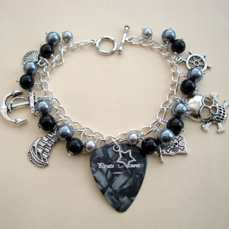 PCB094 Black & silver pirate plectrum charm bracelet