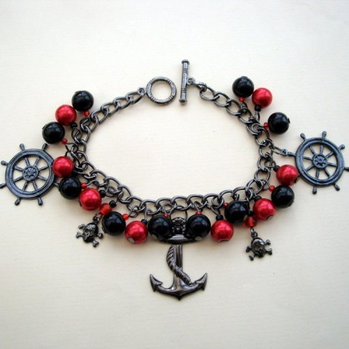 PCB028 Red & black pirate charm bracelet