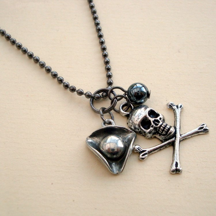 PN097 Pirate charms on ball chain necklace