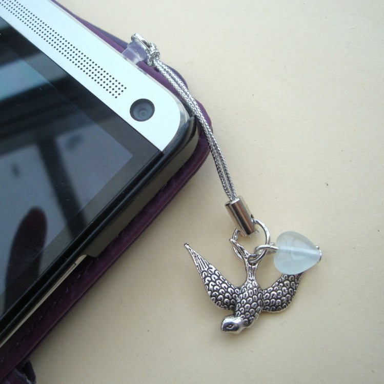 Phone charm, dust plug charm, silver bird and white heart