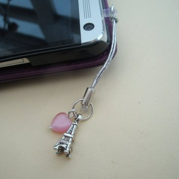 Phone charm, dust plug charm, Eiffel Tower and pink heart