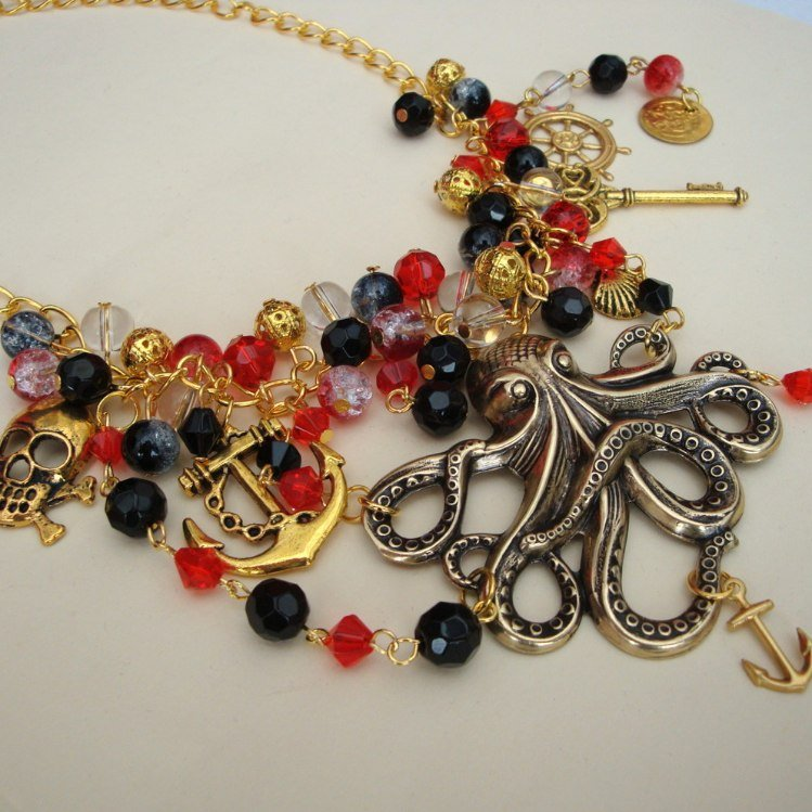 Pirate octopus charm necklace in red, black & gold PN137