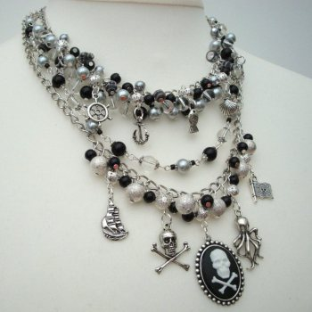 Pirate statement charm necklace in silver & black PN139
