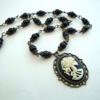 Gothic Skeleton lady cameo black beaded necklace PN142