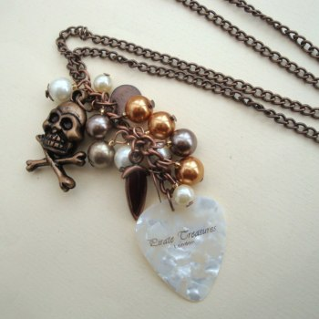 Copper pirate plectrum charm necklace PN076