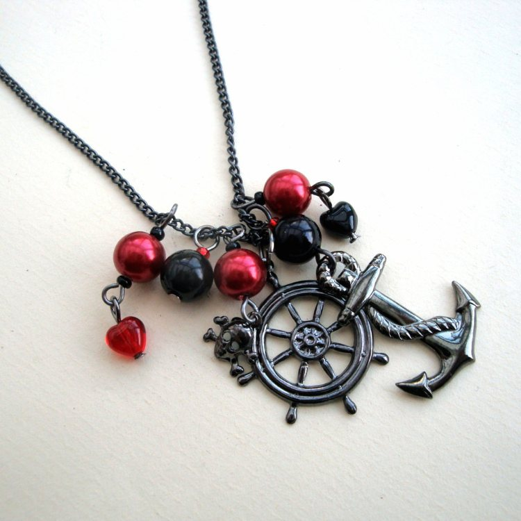 PN027 Red & Black pirate charm necklace