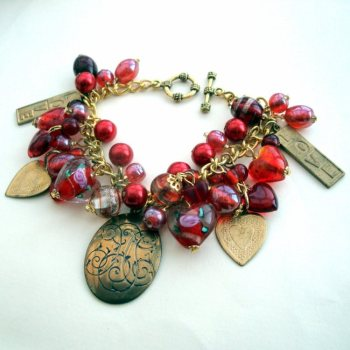 Vintage Valentine handmade bracelet with red hearts and charms VCB012